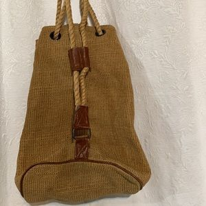 Jute and leather tote/knapsack